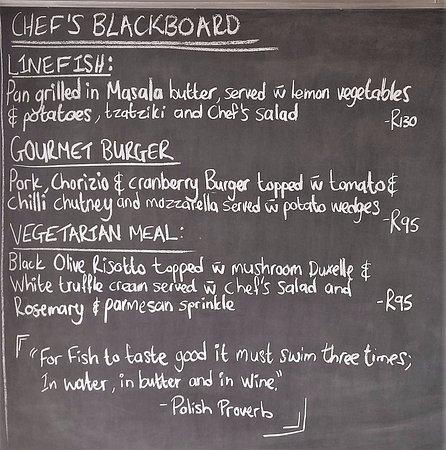 Gordon's Bay, Sudáfrica: Chef's Blackboards