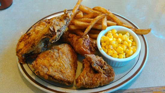 Glencoe, MN: 1/2 Pressure Fried Chicken, Fries,and Corn.