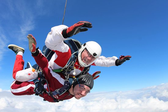 Skydive Wild Geese: Blue skies and big smiles for one of our tandem students!