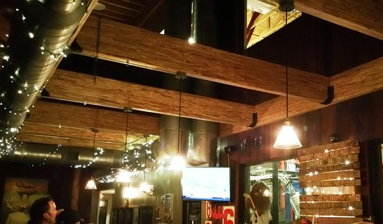 beams lighting. Logboat Brewing Company: Exposed Beams And Twinkle Lights Lighting T