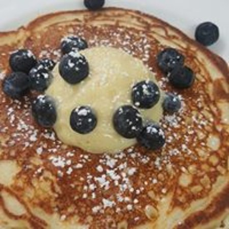 North Hampton, NH: ricotta pancakes with lemon curd and blueberries - delicious!