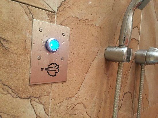 Ibis Styles Leipzig: Wichtiger Tip für's Dampfbad! Auf der linken Seite der Tür ist ein Knopf, 2-3x drücken und das D