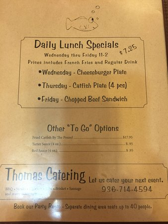 Goodrich, TX: Hughes Catfish Inn menu