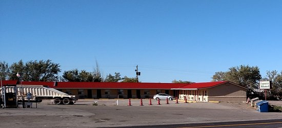 Carrizozo, NM: Nov 2016 - Street view - Street sign still showing Chaparral Motel
