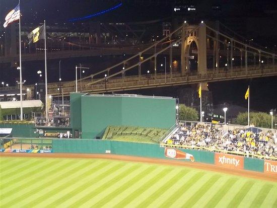 PNC Park: Batter eye with the bridge.