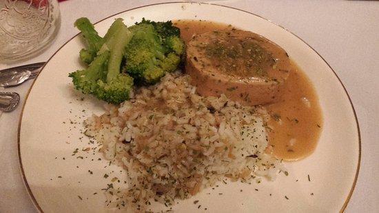 Chelsea, IA: Main course. Stuffed pork loin, rice, broccoli and sauce