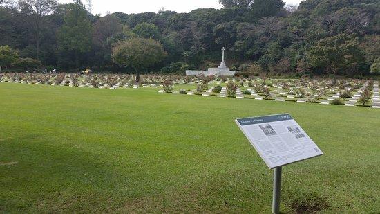 Yokohama War Cemetery : View across the gardens
