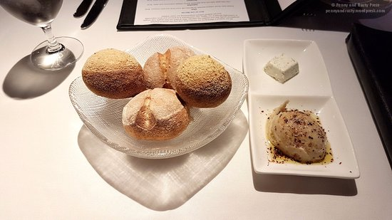 Blue Water Cafe: Baked rolls with seaweed button and white bean tapenade