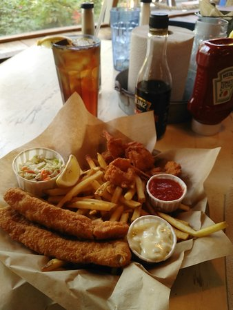 Joe's Crab Shack: My order of fish and chips and shrimp