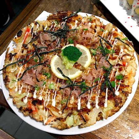Surrey, Canada: Okonomiyaki (seafood pancake) $6.95 - huge and super filling. I wouldn't order it again tho