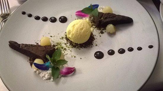Kedzierzyn Kozle, Poland: Brownie gateau, ice cream, crmbled meringue, mint. Delicious!