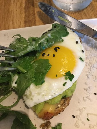 Another view of the Smashed Avocado Toast with SunnySide Up Egg