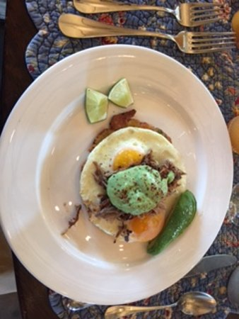 The Inn At Abeja: Arepas: Cuban Style Shredded Pork with Sunnyside Fresh Farm Eggs w/ Avocado Sauce