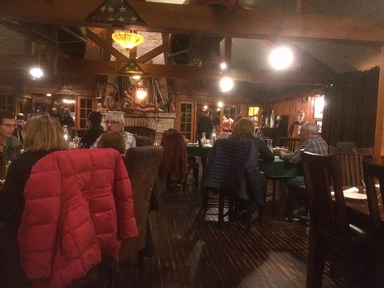 Eagle River, WI: the dining room and fireplace