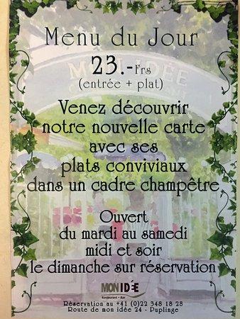idée menu du jour menu du jour du mardi au vendredi midi   Picture of Restaurant Mon  idée menu du jour