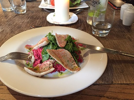 Atcham, UK: the beetroot risotto with red mullet
