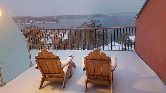 Нака, Швеция: Snowy, but what a view!