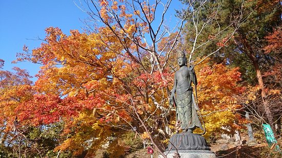 Wakamatsu-ji Temple: 観音様と紅葉