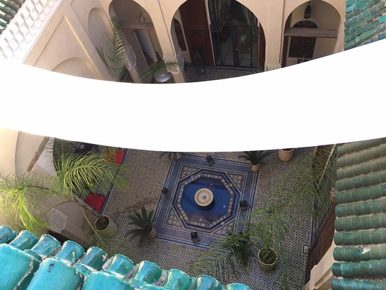 Riad Said: View of Courtyard from roof terrace