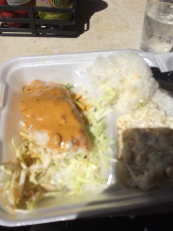 Catch of the day. Mahi mahi with a lobster curry sauce . White rice and macaroni salad. Deliciou