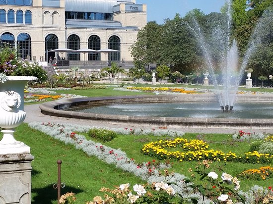 Flora: The main building, with beautiful gardens and fountain.