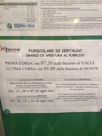 Certaldo, Italien: Orari funicolare