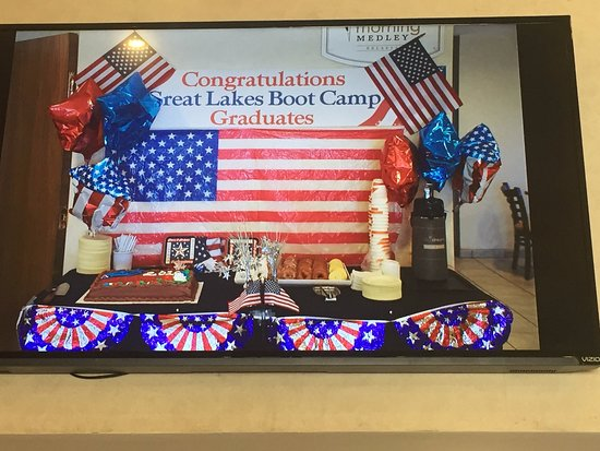 Lake Bluff, IL: Reception set up for boot camp grads and families.