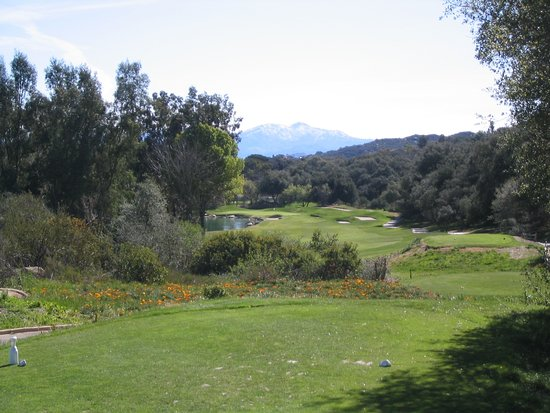Ramona, CA: View of snow-capped Mt. Laguna from 18th tee box