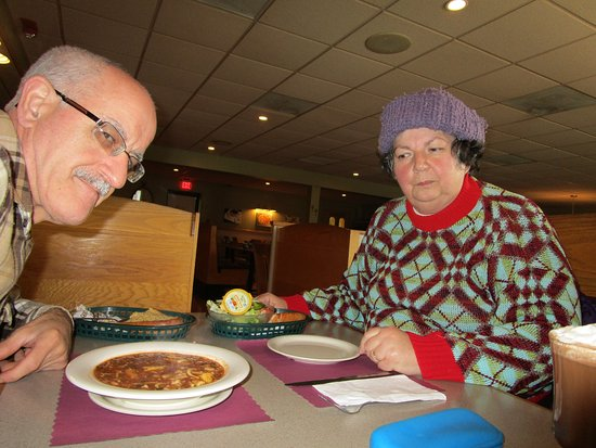 Somerset, MA: Louis and  I eating our meal.