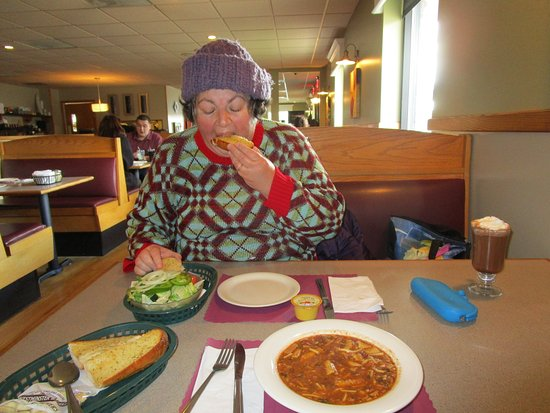 Somerset, MA: That is me eating my salad and garlic bread.