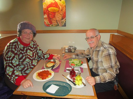 Somerset, MA: Louis and I eating our meals.