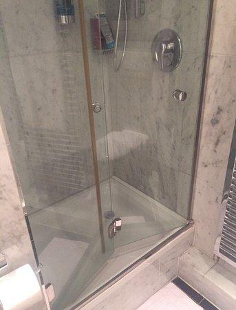 Hotel Schmidt: Die Tür passt nicht zur Größe der Dusche! Man kann sie nicht schließen!