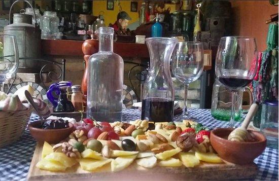 San Juan la Laguna, Guatemala: Maybe 20 kinds of cheese, nuts, olives and wonderful fresh warm bread. YUM