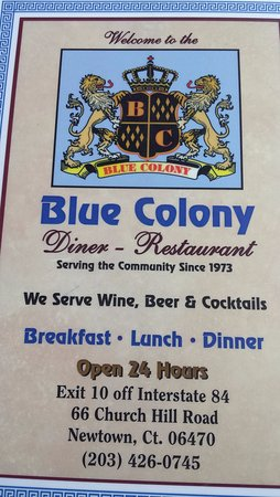 Newtown, CT: The menu at Blue Colony
