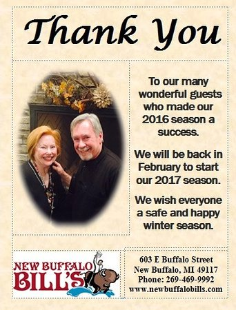 New Buffalo, MI: We will reopen for the 2017 Season on Fenruary 11,2017