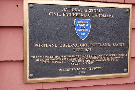 portland observatory plaque