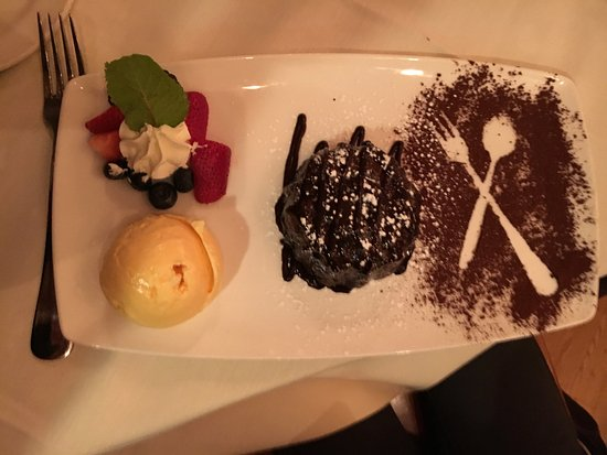 Wheeling, IL: Molten Lava Cake with ice cream and berries