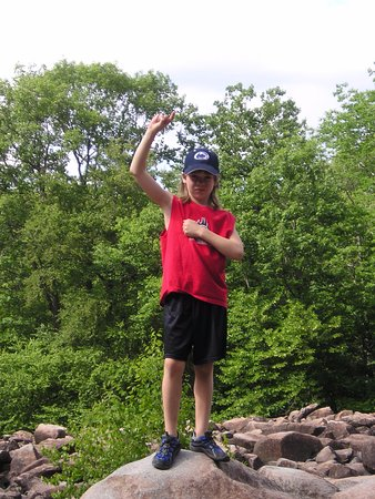 "Upper Black Eddy, PA: My nephew ""discovering America"" at Ringing Rocks back in 2005."