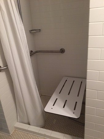 Walk-in shower with drop down seat in ADA room. - Picture of General ...