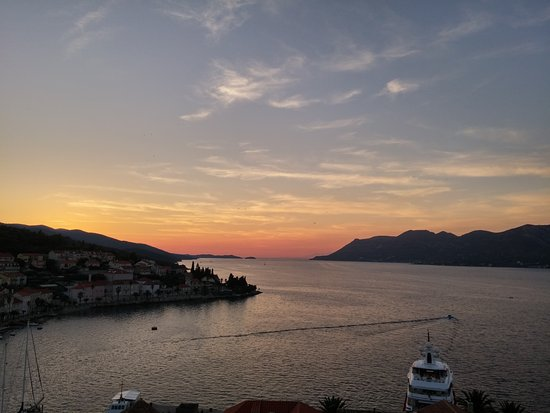 Korcula Town, Croazia: View from the bell tower, just after sunset.