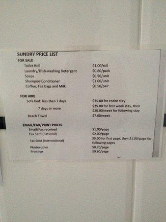 سانتا آن باي ذا سي: Price list of sundry items