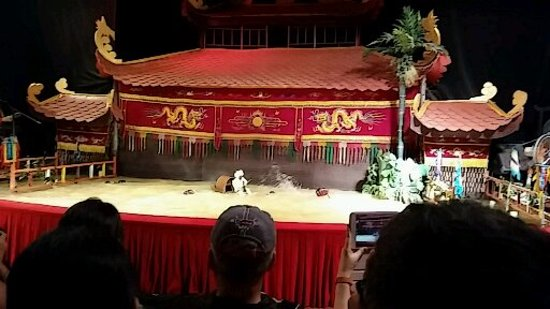 Golden Dragon Water Puppet Theater: The stage is a pond such as you would see in the countryside.