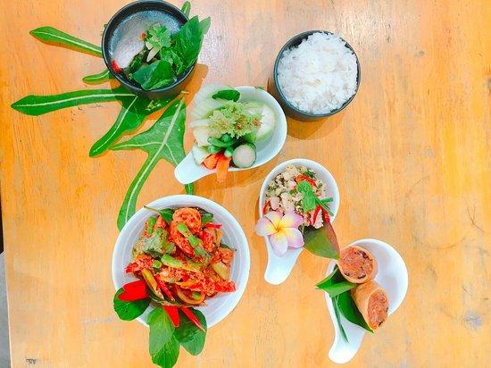 Lunch menu @ 150 THB including Thai ice tea