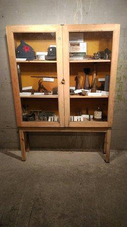 shelf full of items.
