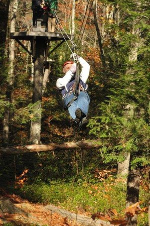 Charlemont, MA: Yours truly on one of the zip lines at Zoar