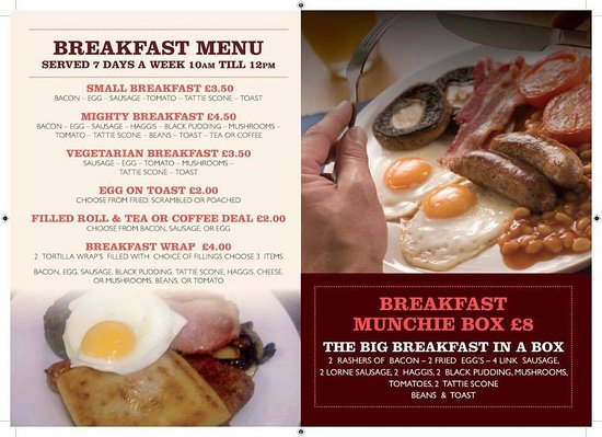 Glenrothes, UK: BREAKFAST MENU INSIDE