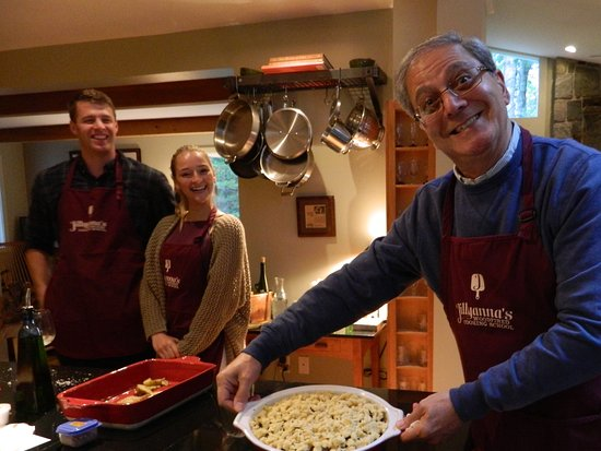Kennebunkport, ME: My husband showing the dish we made. Prune plum crisp with almond streusel