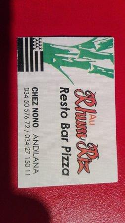 Chez Nono - La Rhum Riz : Biglietto da visita