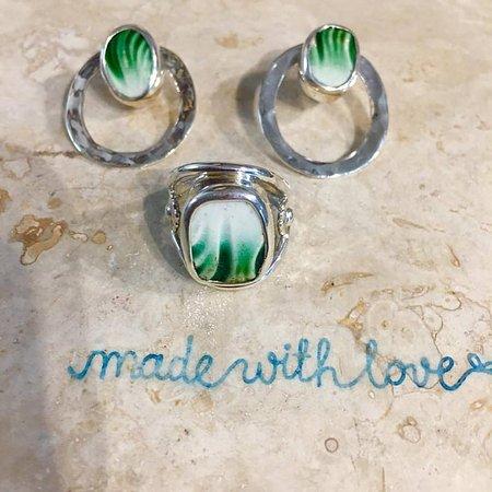 ib designs: textured, green chaney set.