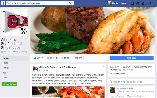 Andover, NJ: Glasser's Seafood and Steakhouse Facebook Page